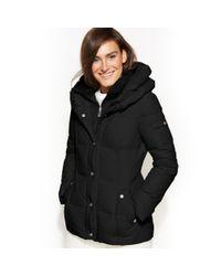 DKNY - Black Pillowcollar Down Puffer Coat - Lyst