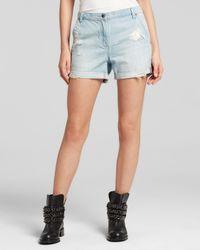 DKNY - Blue Pure Distressed Denim Shorts In Faded Indigo - Lyst