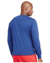 Polo Ralph Lauren | Blue Big And Tall Long-sleeved Jersey V-neck for Men | Lyst