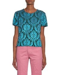 Marques'Almeida - Blue Floral Brocade Shortsleeved Top - Lyst