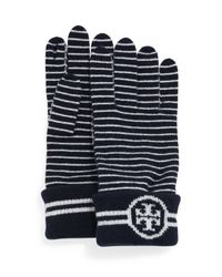 Tory Burch - Blue Striped Wool Gloves With Logo - Lyst