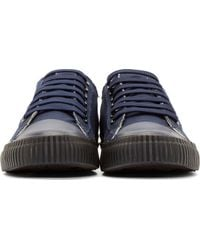 Yohji Yamamoto - Blue Navy Canvas Lace-up Sneakers for Men - Lyst