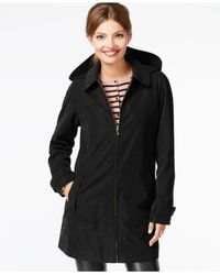 Jones New York | Black Water-resistant Hooded Raincoat | Lyst
