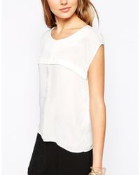 Vero Moda | White Short Sleeve Top With Chiffon Panel | Lyst