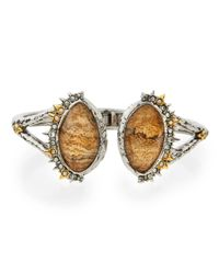 Alexis Bittar | Metallic Imperial Jasper & Crystal Hinged Bangle Bracelet | Lyst