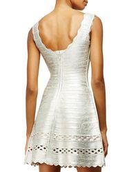 Hervé Léger - Metallic Sleeveless Fit-and-flare Bandage-knit Dress - Lyst