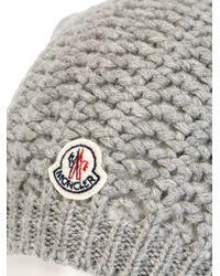 Moncler - Gray Fox Fur Pom Pom Beanie Hat - Lyst