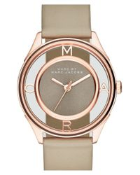 Marc Jacobs | Gray 'tether' Skeleton Leather Strap Watch | Lyst