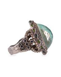 Armenta - Metallic New World Large Pear Green Turquoise Ring - Lyst