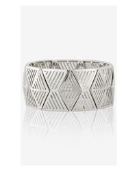 Express | Metallic Cut-out Geometric Metal Stretch Bracelet | Lyst