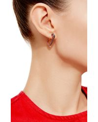 Genevieve Jones - Blue Malia Non Duality Pave Stone Safety Pin Earrings - Lyst