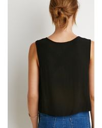 Forever 21 | Black Contemporary Floral Crochet-front Top | Lyst