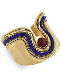 Vince Camuto | Blue Gold-tone Beaded Drama Cuff Bracelet | Lyst