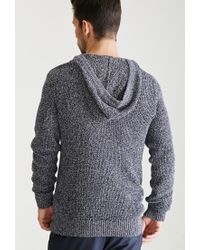 Forever 21 - Blue Marled Knit Hooded Sweater for Men - Lyst