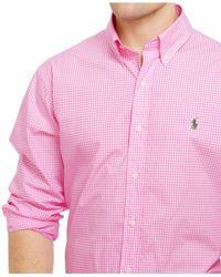 Polo Ralph Lauren - Pink Checked Poplin Shirt for Men - Lyst