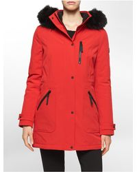 Calvin Klein - Red White Label Soft Shell Faux Fur Hooded Parka - Lyst
