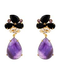 Bounkit | Black Faceted Onyx & Amethyst Cluster Drop Earrings | Lyst