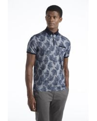 Ted Baker - Blue Leaf Print Polo Shirt for Men - Lyst
