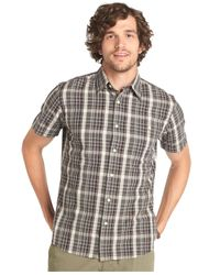 G.H. Bass & Co. - Brown Cascade Plaid Poplin Short Sleeve Shirt for Men - Lyst
