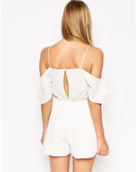 ASOS | White Playsuit With Cold Shoulder Ruffle | Lyst
