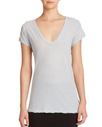 James Perse - Blue Cotton Jersey V-neck Tee - Lyst