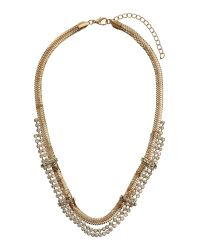 Mikey | Metallic Multi Chain Crystal Necklace | Lyst