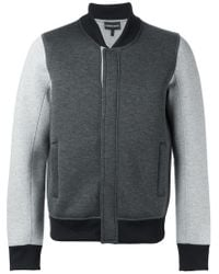 Emporio Armani - Gray Contrasting Sleeves Bomber Jacket for Men - Lyst