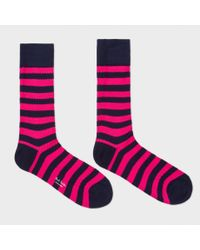Paul Smith - Pink Striped Socks for Men - Lyst