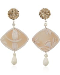 Anna E Alex | White Silver and Shell Cameo Dragonfly Natura Earrings | Lyst