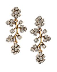 Oscar de la Renta | Metallic Crystal Branch Clip-on Drop Earrings | Lyst
