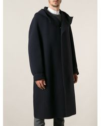 Lanvin - Blue Hooded Coat for Men - Lyst