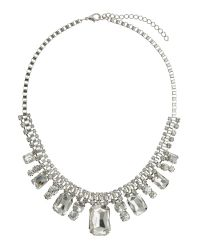 Mikey | Metallic Square Crystal Box Chain Linked Necklace | Lyst