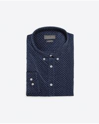 Zara | Blue Printed Needlecord Shirt for Men | Lyst