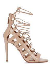 Aquazzura - Pink Amazon Almond Leather Sandals - Lyst