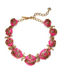 Oscar de la Renta | Pink Filigree Statement Necklace | Lyst