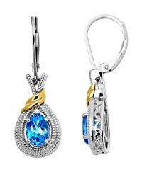 Lord & Taylor | Sterling Silver Earrings With 14kt. Yellow Gold Blue Topaz And Diamond Accent | Lyst