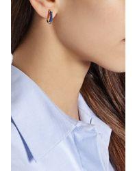 Aurelie Bidermann - Blue Mini Creoles Gold-plated And Cotton Hoop Earrings - Lyst