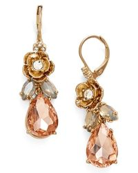Marchesa - Pink Jeweled Drop Earrings - Lyst