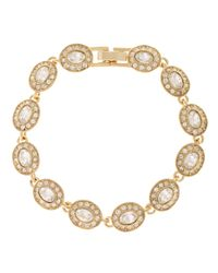 Carolee | Metallic Crystal Set Gold Toned Link Bracelet | Lyst