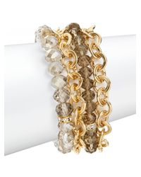 Saks Fifth Avenue - Metallic Beaded & Chain Multi Strand Bracelet - Lyst