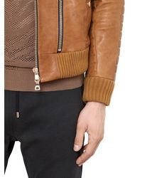 Balmain - Brown Hooded Nappa Leather Moto Jacket for Men - Lyst