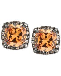 Betsey Johnson - Orange Hematitetone Glass Crystal Square Stud Earrings - Lyst
