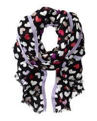 kate spade new york | Black Dancing Hearts Scarf | Lyst