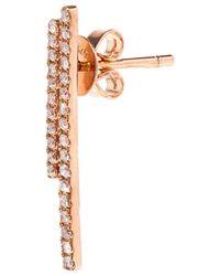 Asherali Knopfer | Multicolor 18Kt Rose Gold And Diamond Bar Earring | Lyst