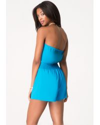 Bebe | Blue Necklace Halter Romper | Lyst