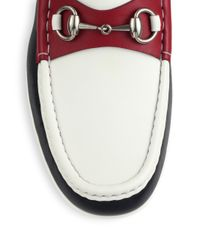 Gucci - Red Multicolor Leather Horsebit Loafers for Men - Lyst