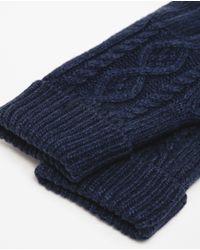 Zara | Blue Aran Knit Gloves for Men | Lyst