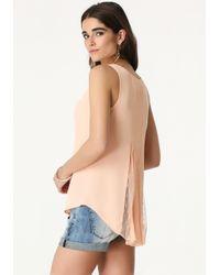 Bebe | Pink Mesh Inset Shirt | Lyst