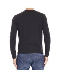 Versus - Black T-shirt Long Sleeve Crewneck With Print Lion for Men - Lyst