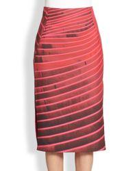 Akris - Pink Line Print Pencil Skirt - Lyst